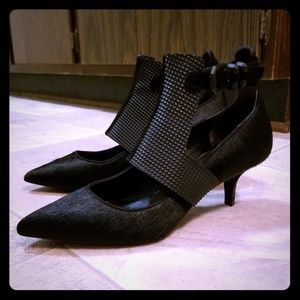 Killer Kenneth Cole pony hair military goth heels